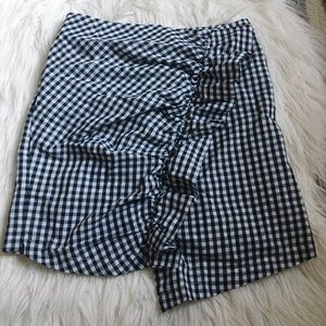 Blue and white patterned skirt with ruffle